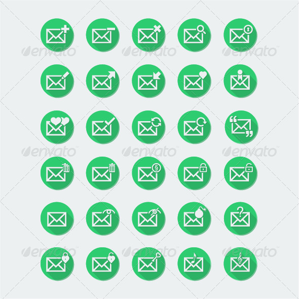 GraphicRiver 30 Flat Envelope Icon Set 2 5384471