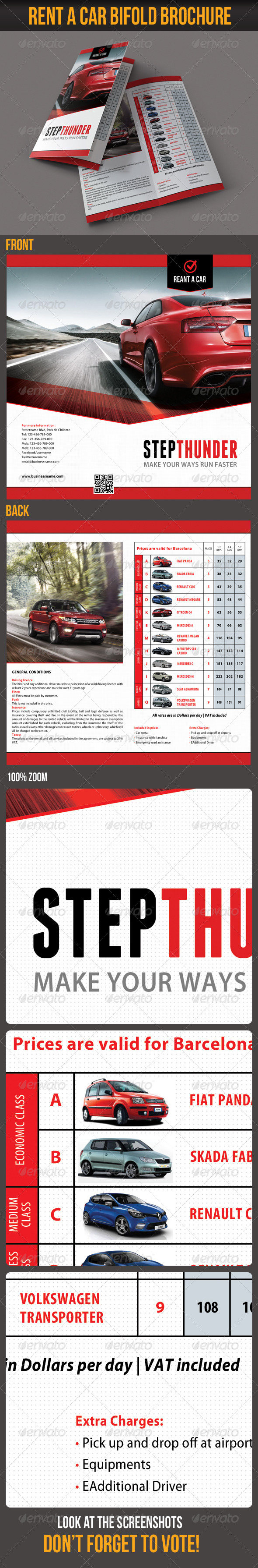 Rent A Car Bifold Brochure - Corporate Flyers