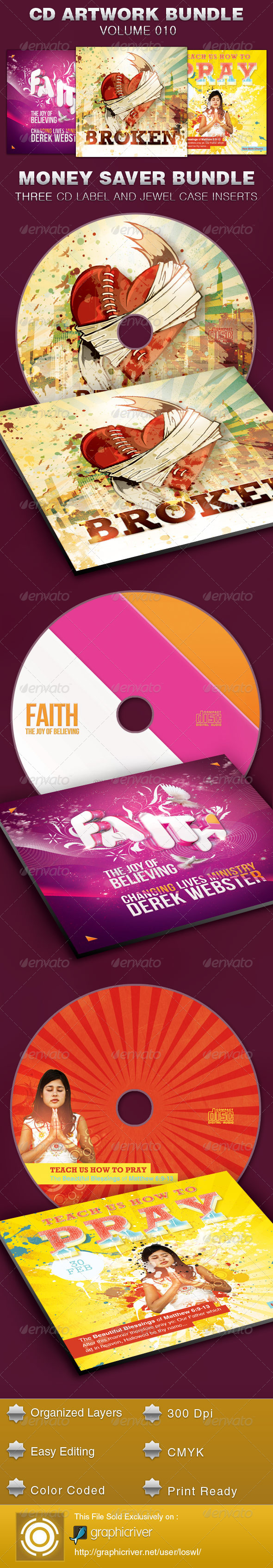 CD Cover Artwork Template Bundle-Vol 010 - CD & DVD Artwork Print Templates