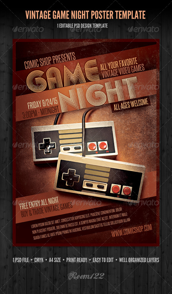 GraphicRiver Vintage Game Night Poster Template 5392143