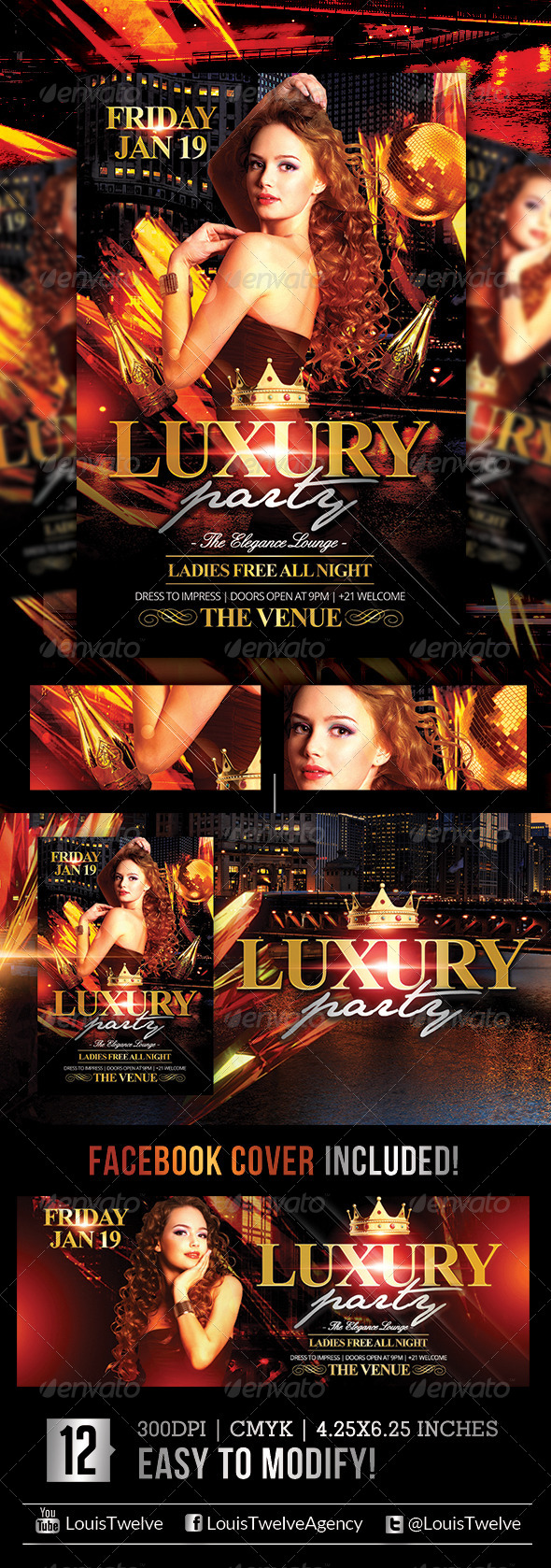 GraphicRiver Luxury Nights Flyer & Facebook Cover 5243174