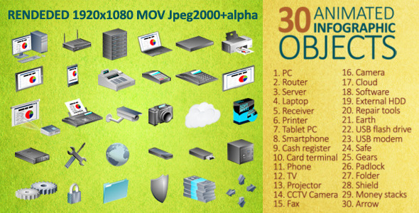 30 Animated Infographic Objects by v68 | VideoHive