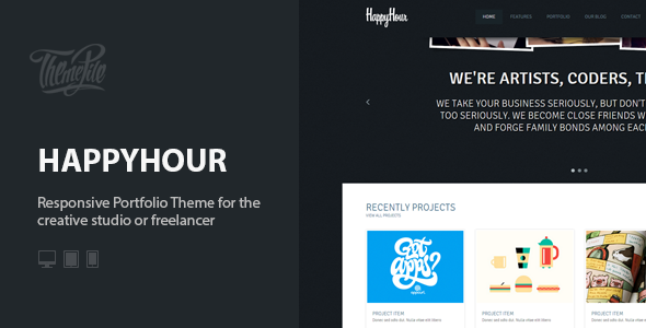 ThemeForest InHappyHour Responsive Portfolio WordPress Theme 5393286