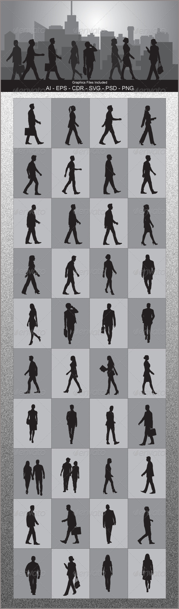 GraphicRiver People Walking Silhouettes 5393501