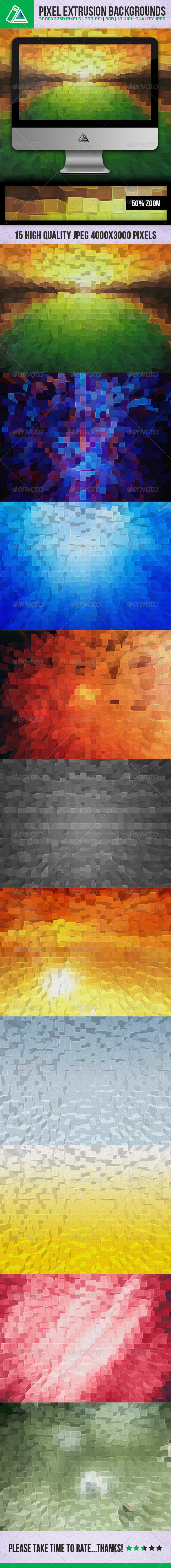 GraphicRiver 10 Pixel Extrusion Backgrounds 5393571