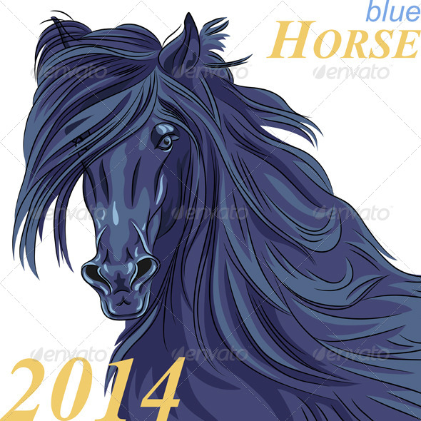 Vector Symbol of the New Year Blue Horse - Animals Characters