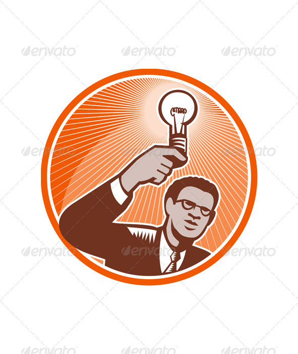 GraphicRiver Businessman Holding Lightbulb Woodcut 5393694