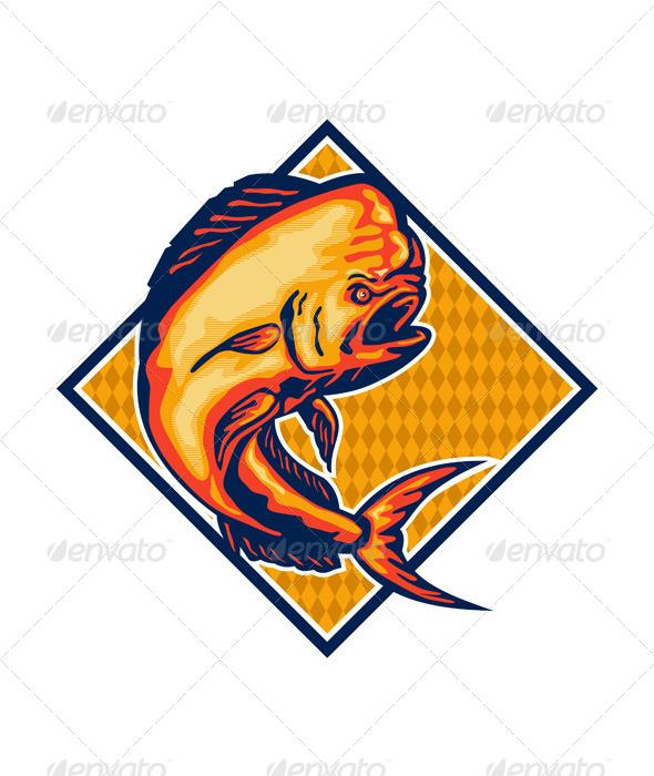 GraphicRiver Dorado Dolphin Fish Mahi-Mahi Retro 5393734