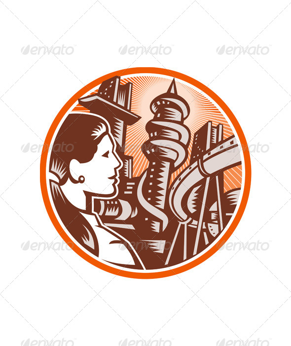 GraphicRiver Futuristic City Woman Side Circle Woodcut 5393738