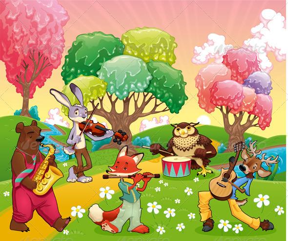GraphicRiver Musician Animals in a Fantasy Landscape 5393834