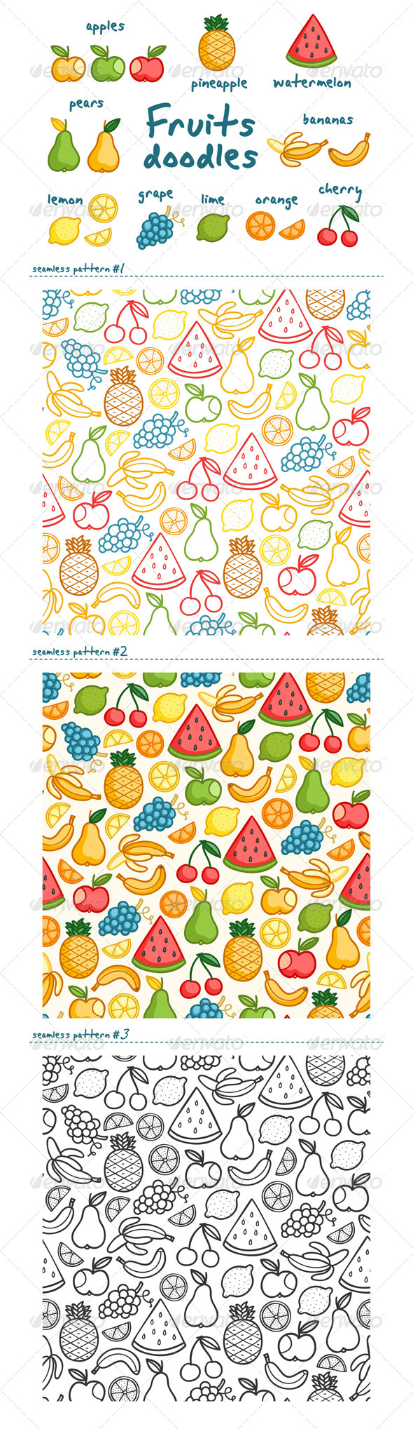 GraphicRiver Fruits Doodles 5393950