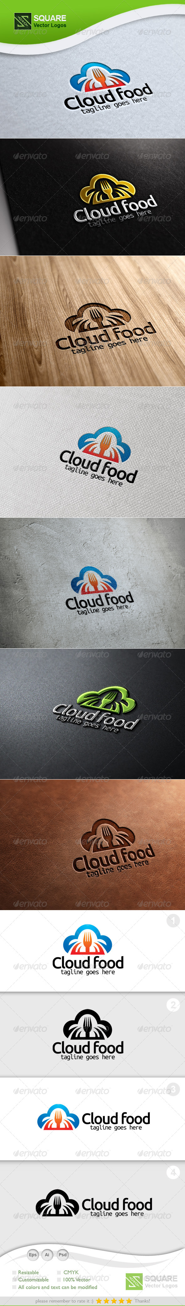 GraphicRiver Cloud Fork Vector Logo Template 5394193