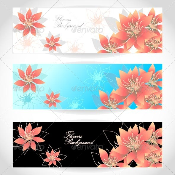GraphicRiver Set Flowers Banners on White Blue Black Background 5394268