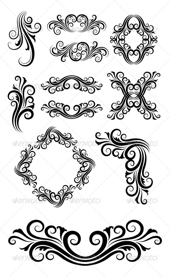 Floral Element Decorations - Flourishes / Swirls Decorative