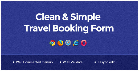 CodeCanyon Clean & Simple Travel Booking Form 5263564
