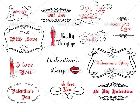 GraphicRiver Set of Love and Valentine s Calligraphic Headlines 5395075