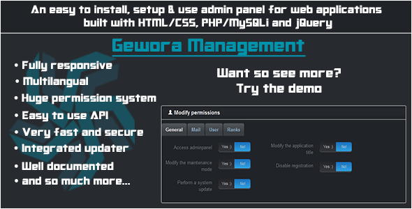 CodeCanyon Gewora Management Ultimate admin panel 5395623