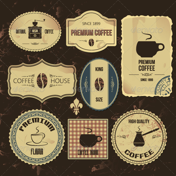GraphicRiver Coffee Vintage Labels 5395946