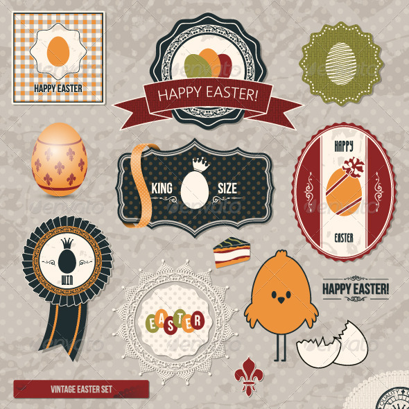 GraphicRiver Easter Vintage Set 5396133