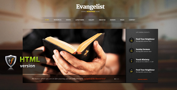 ThemeForest Evangelist Church HTML Theme 5396213