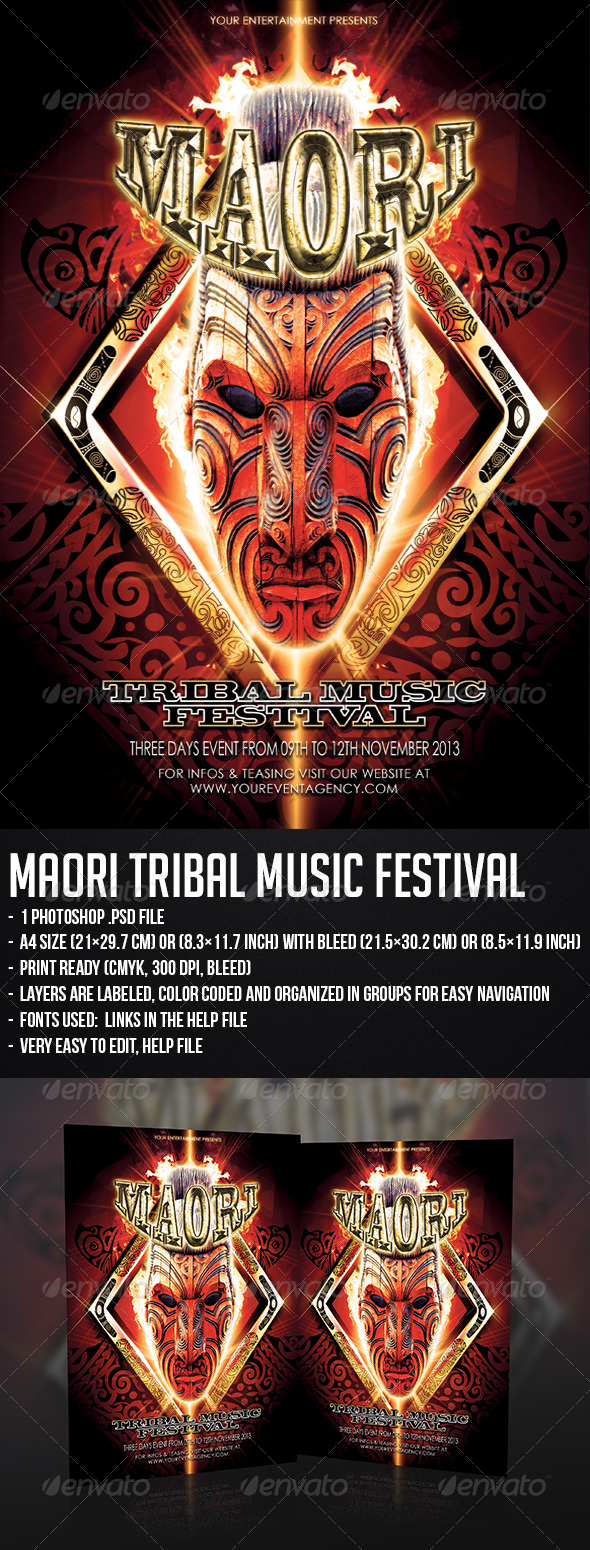 GraphicRiver Maori Tribal Music Festival 5396732