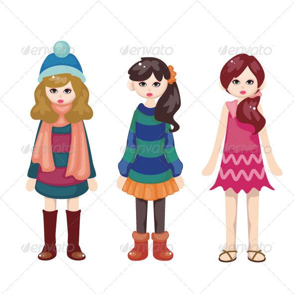 GraphicRiver Fashion Girl Set Mascot 5397882