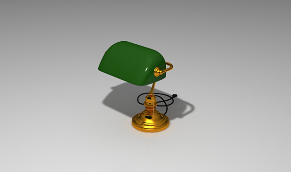 Realistic Vintage Banker's Desk Green Lamp Model - 3DOcean Item for Sale