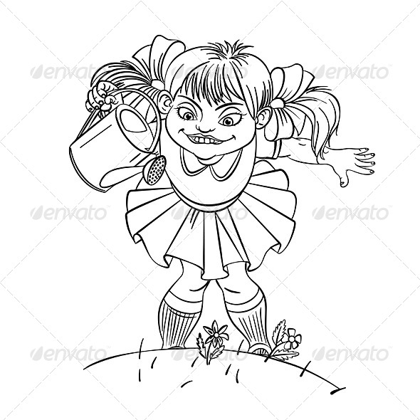 GraphicRiver Little Girl with Watering Can 5397961