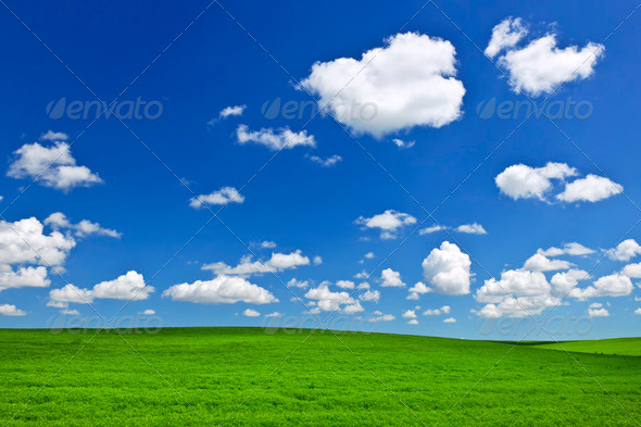 Green rolling hills under blue sky - Stock Photo - Images