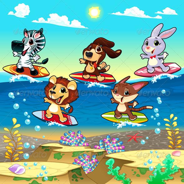 Animals Surfing on the Sea