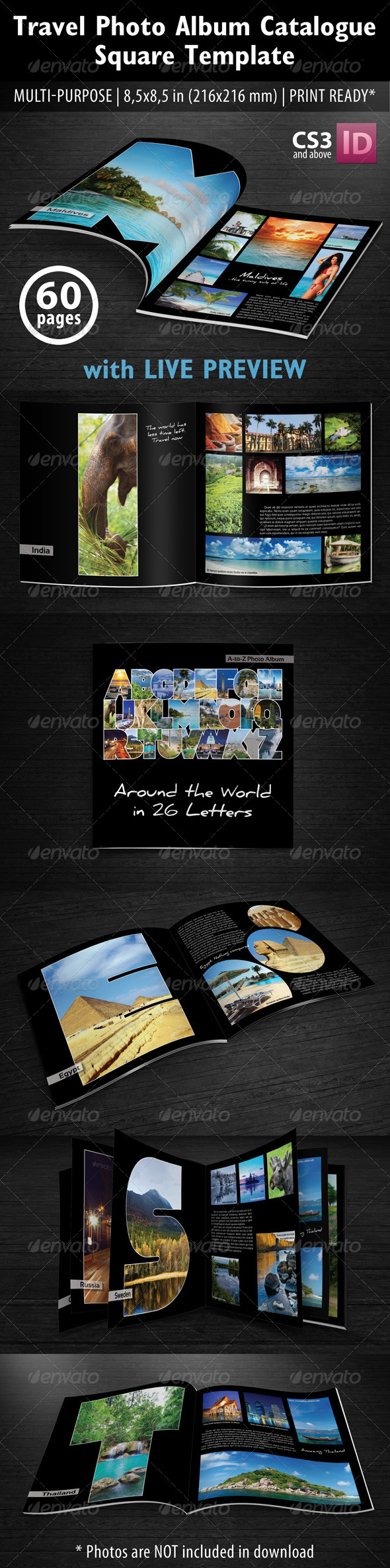 GraphicRiver Travel Photo Album Catlog Square Template 5398410