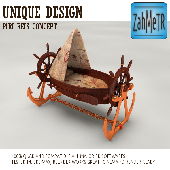 Pirate Boat Crib Piri Reis Concept  - 3DOcean Item for Sale