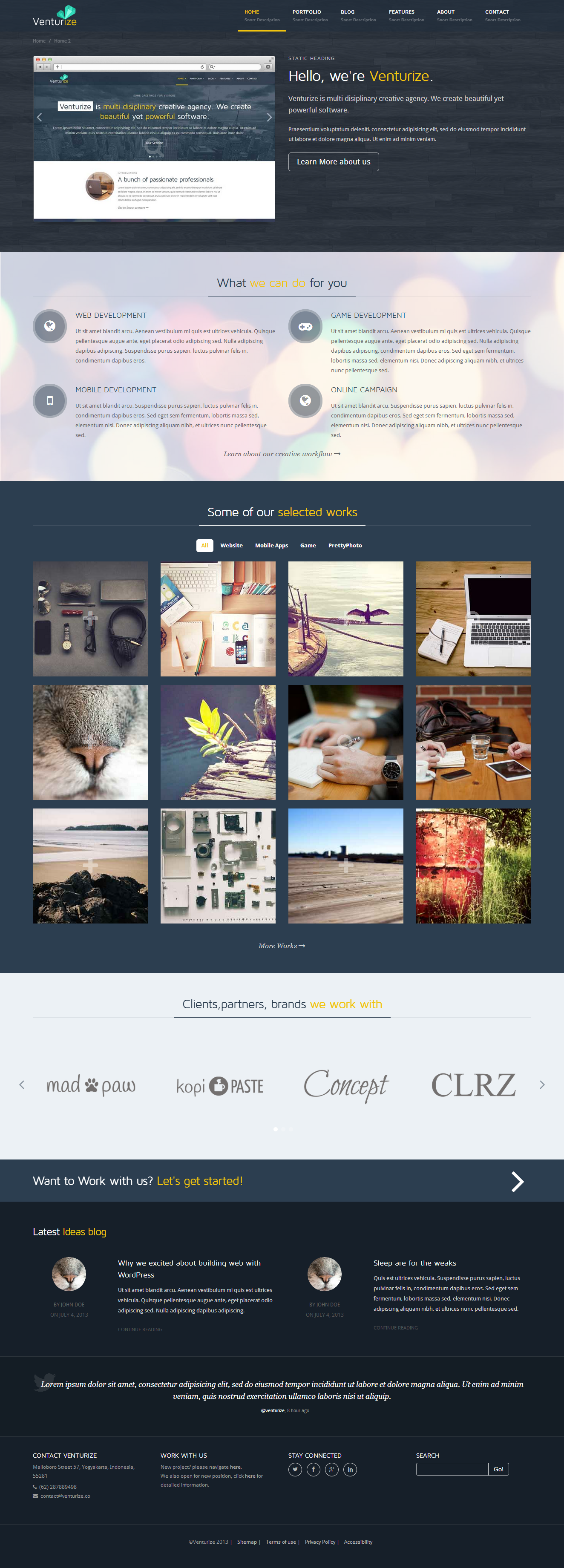 Venturize - Bootstrap Responsive HTML Template
