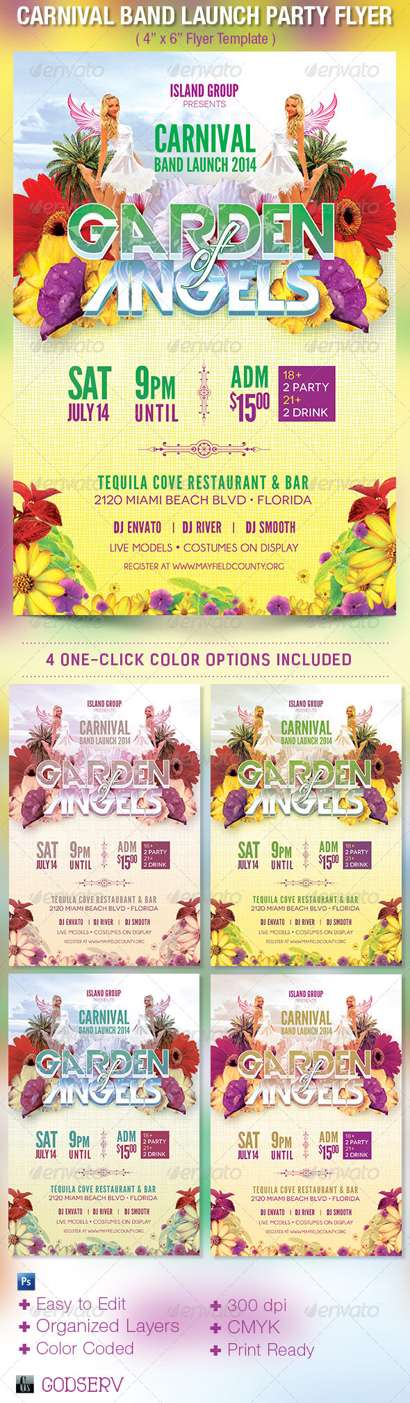 Carnival Band Launch Party Flyer Template - Clubs & Parties Events