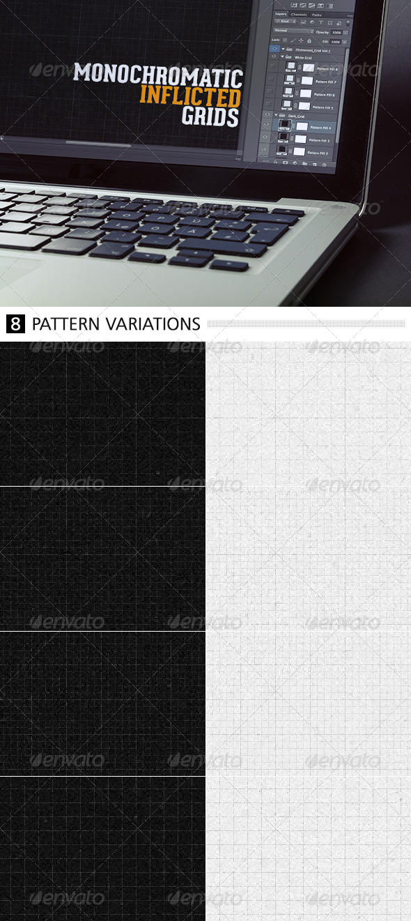 Monochromatic Inflicted Grids - Photoshop Add-ons