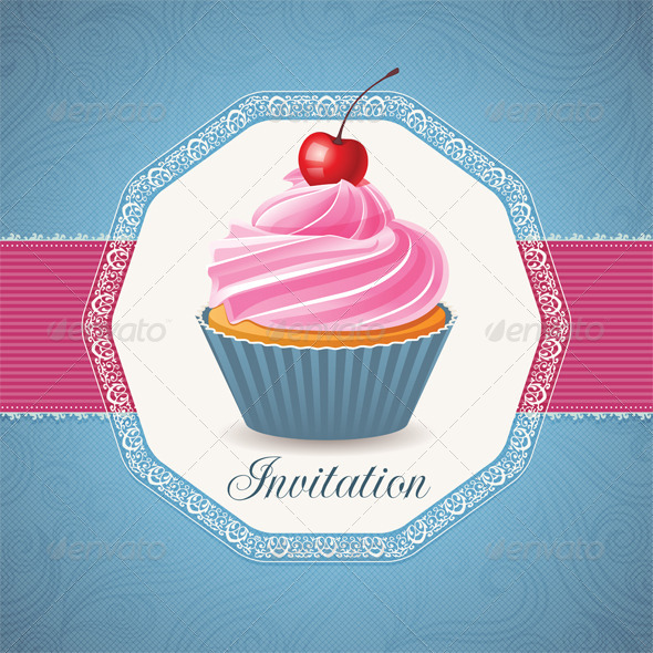 Vintage Card with Cupcake GraphicRiver