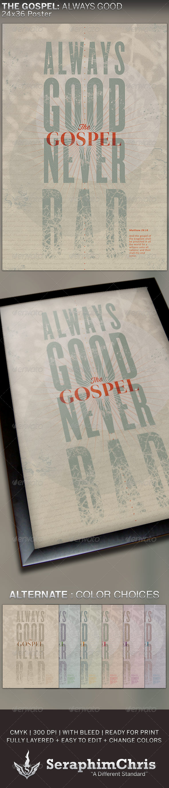GraphicRiver Gospel Always Good 24x36 Poster Template 5368026