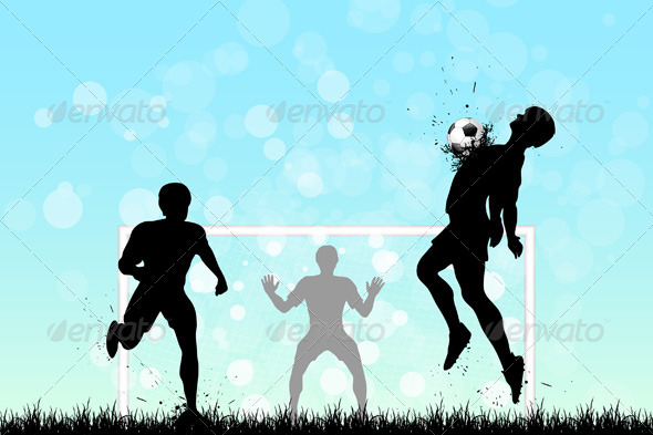GraphicRiver Soccer Background with Three Players 5400956