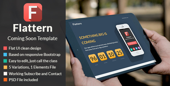 ThemeForest Flattern Responsive Coming Soon Template 5401502