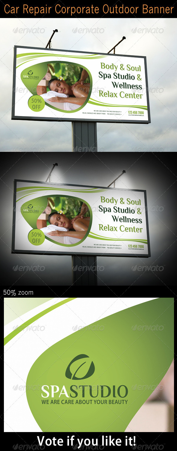 Spa Studio Outdoor Banner 03 - Signage Print Templates