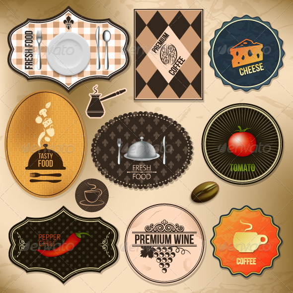GraphicRiver Vintage Food Labels Set 5402443