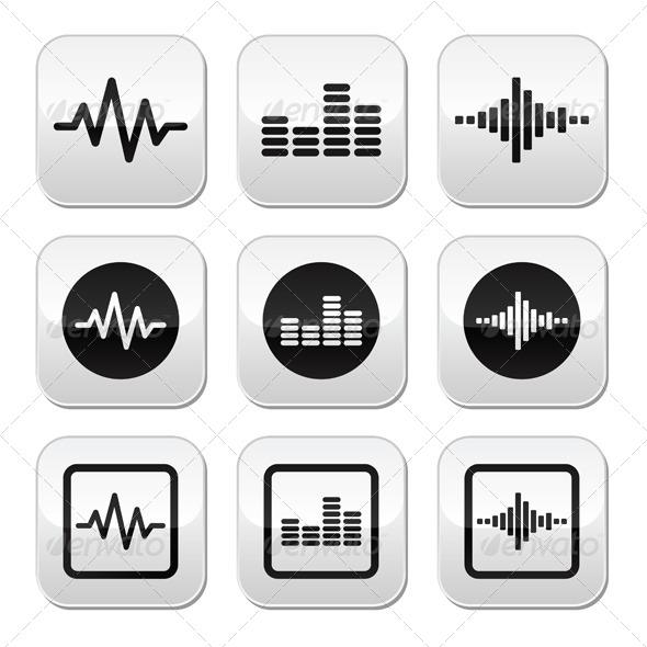GraphicRiver Soundwave Music Vector Buttons Set 5402792