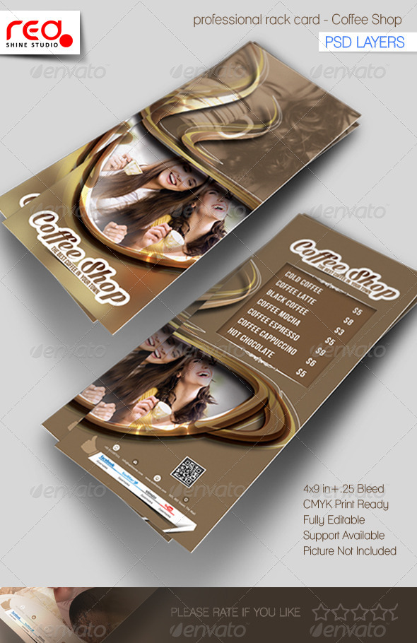 GraphicRiver Coffee Shop Rack Card Template 5402795
