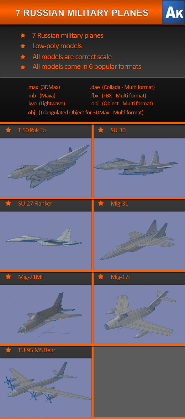 3DOcean 7 Russian Military Planes 555247