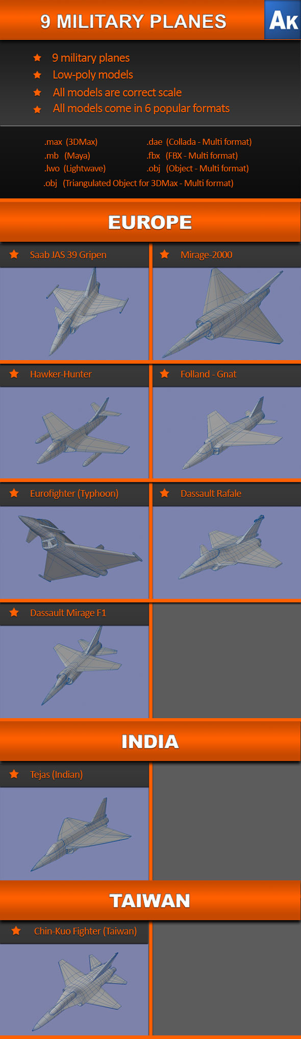 9 Military Planes - 3DOcean Item for Sale