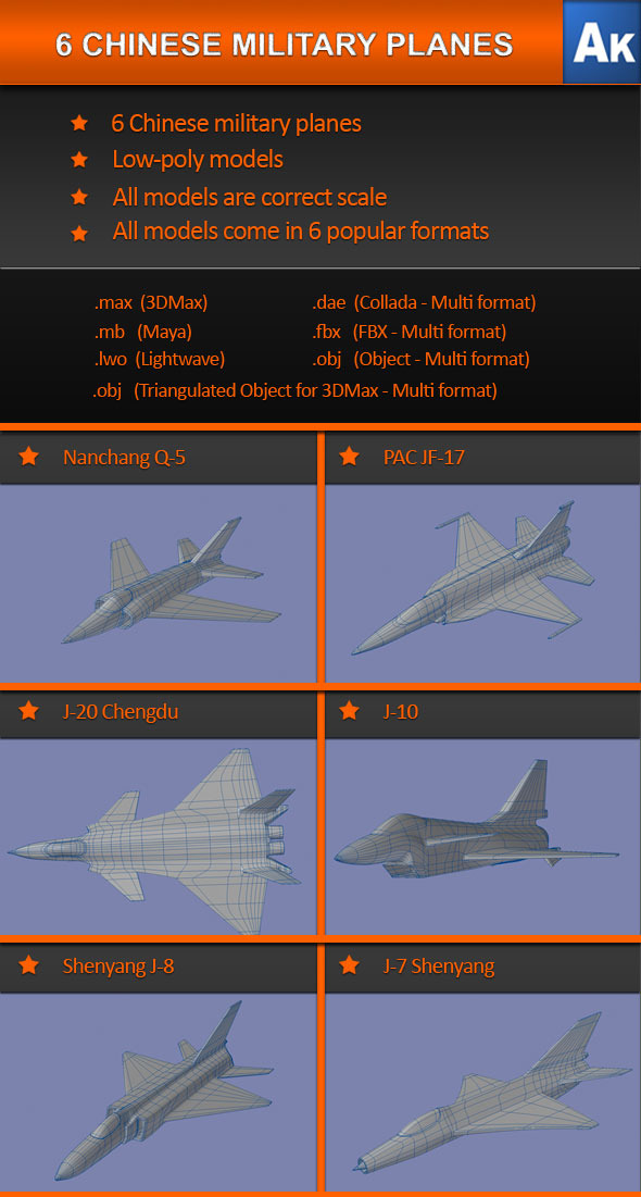 6 Chinese Military Planes - 3DOcean Item for Sale