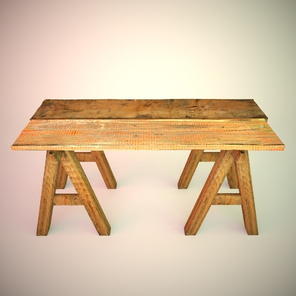 Work Table Wood VrayC4D