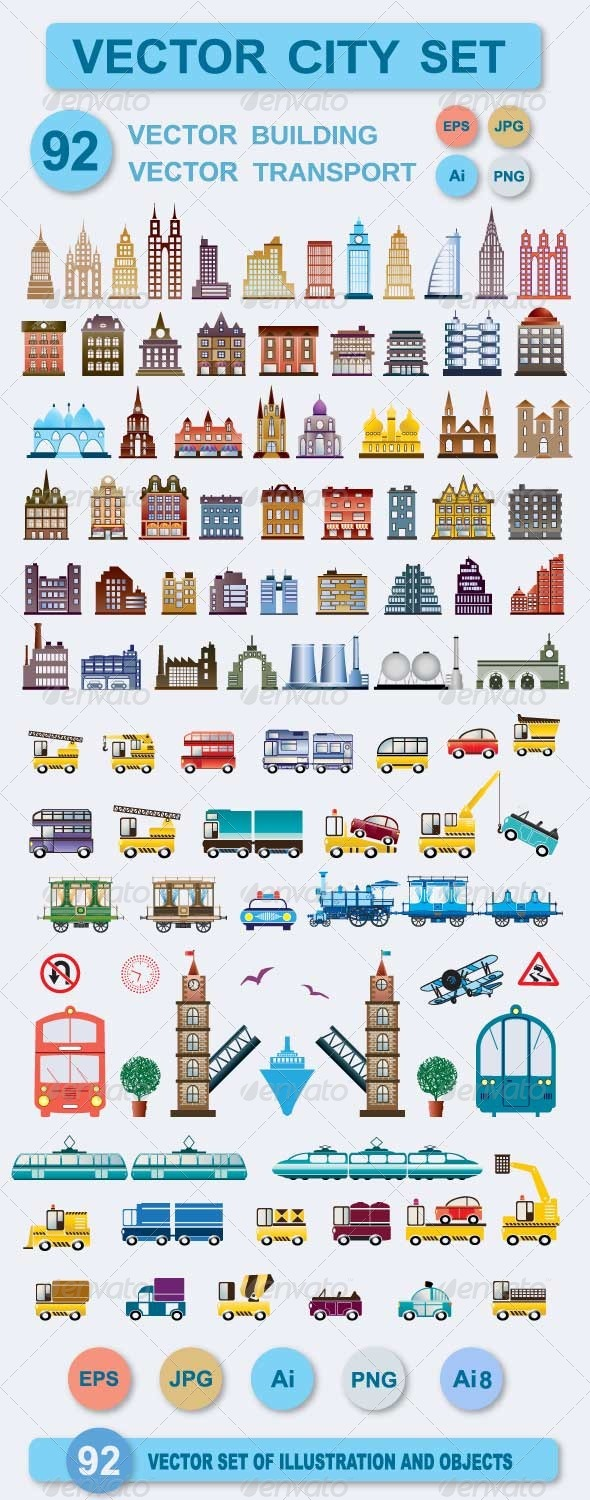GraphicRiver Set of Vector Buildings and Transport 5402954