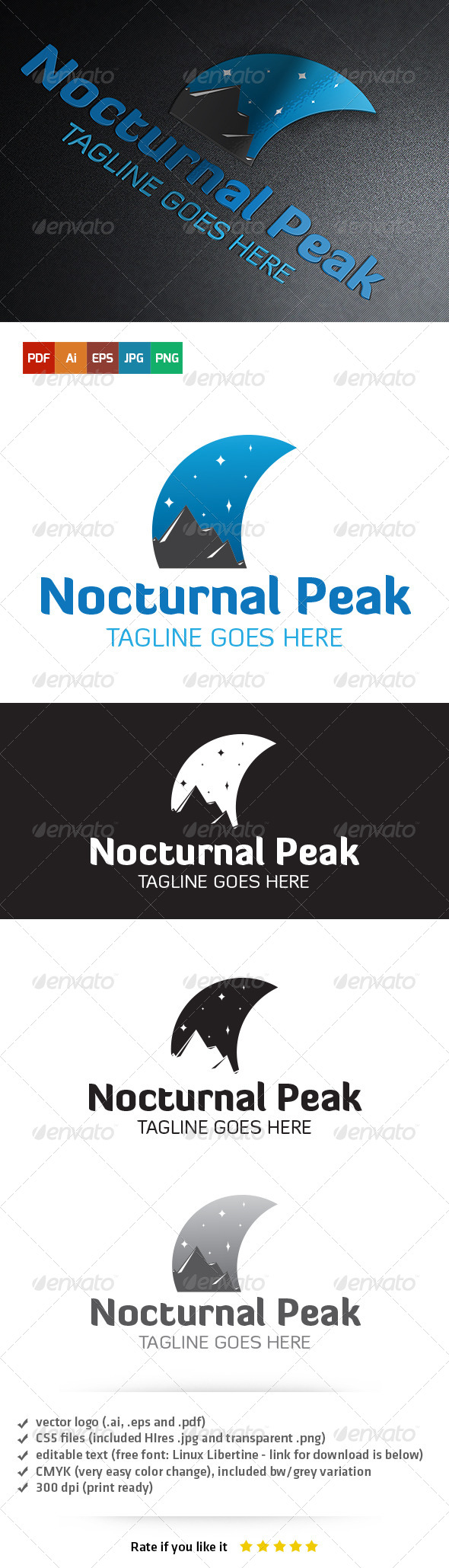 GraphicRiver Nocturnal Peak Logo 5403704