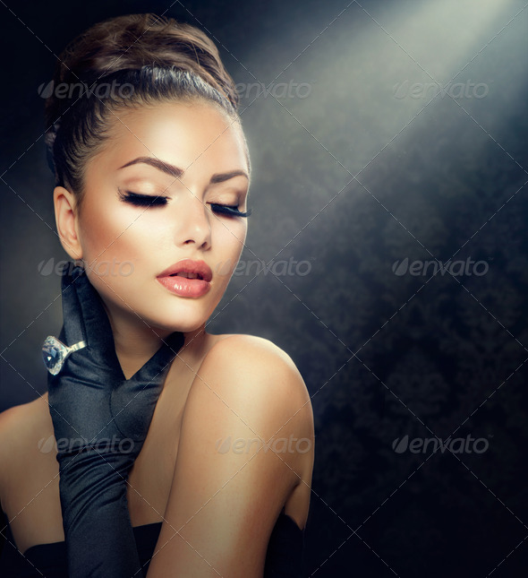 Beauty Fashion Girl Portrait. Vintage Style Girl Wearing Gloves - Stock Photo - Images